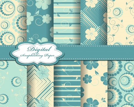 set of flower  paper for scrapbook Stock Vector - 14725030