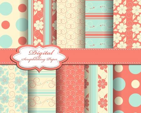 compendium: set of flower  paper for scrapbook