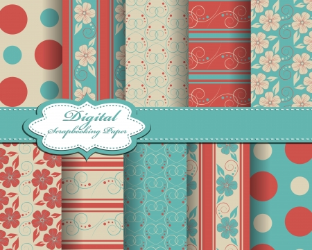 set of flower  paper for scrapbook Stock Vector - 14725016