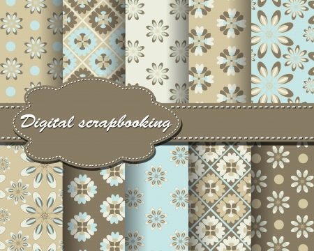 set of vector flower paper for scrapbook Illustration