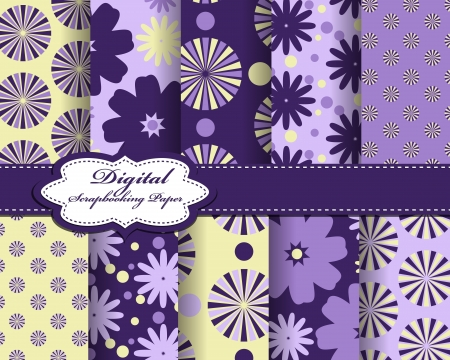 compendium: set of vector flower paper for scrapbook Illustration