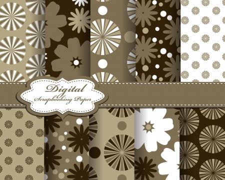 set of vector flower paper for scrapbook Vector