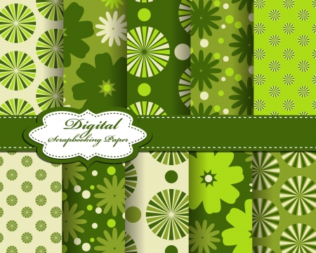 set of vector flower paper for scrapbook Vector