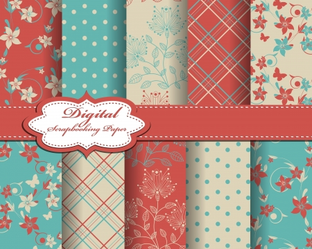 set of flower paper for scrapbook Stock Vector - 15196776