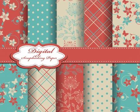 set of flower paper for scrapbook Stock Vector - 15196776