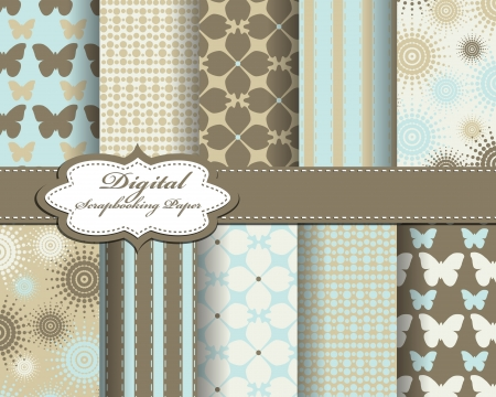 set of vector flower paper for scrapbook Ilustrace
