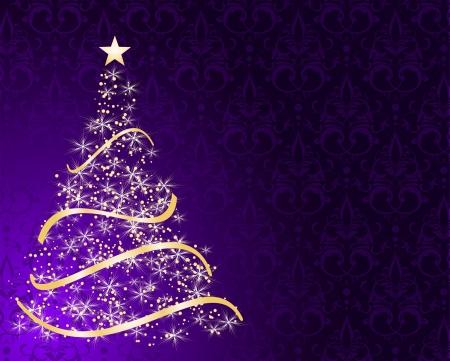 stylized Christmas tree on decorative damask background Vector Illustration