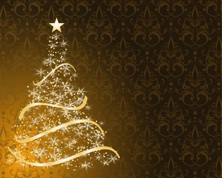 tree line: stylized Christmas tree on decorative damask background