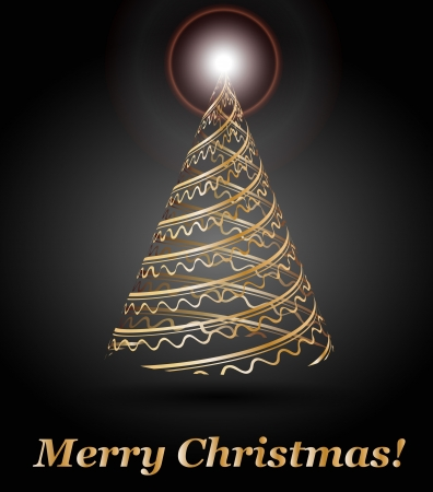 stylized vector gold Christmas tree Stock Vector - 15048154