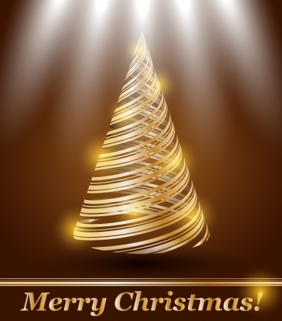 beautifully: stylized gold Christmas tree  Illustration