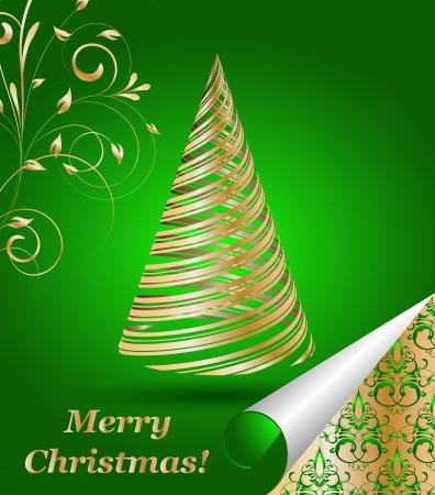 beautifully: stylized  gold Christmas tree