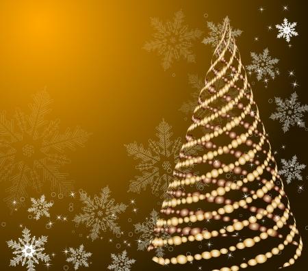 beautifully: stylized vector gold Christmas tree on decorative background Illustration
