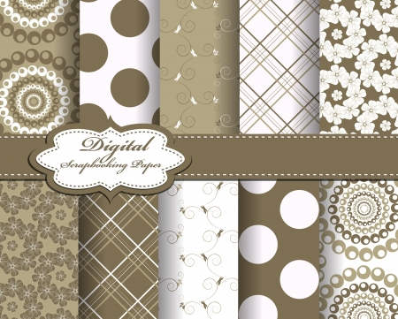 decoratively: set of flower  paper for scrapbook