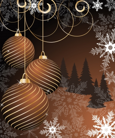stylized Christmas ball on winter decorative background Illustration