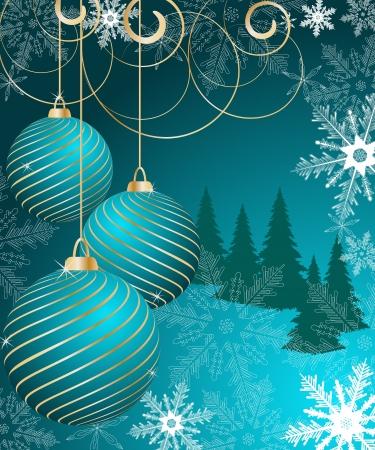 beautifully: stylized Christmas ball on winter decorative background Illustration