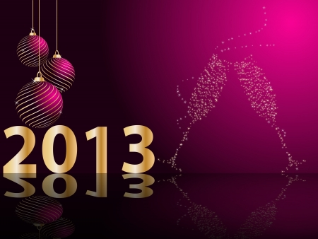 happy moment: stylized New Years card Illustration