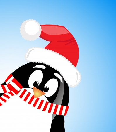 cute Santa Claus Penguin on blue background Vector