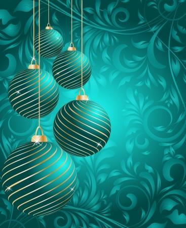 stylized Christmas balls on decorative floral background Illustration