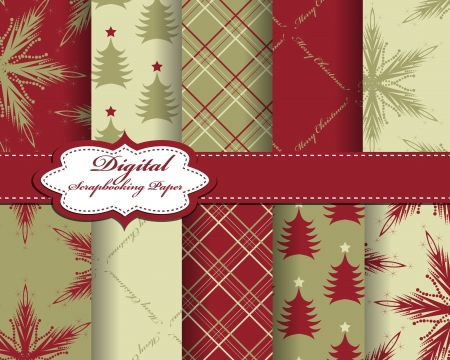 set of vector Christmas  paper for scrapbook