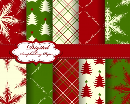 snowflake border: set of vector Christmas  paper for scrapbook