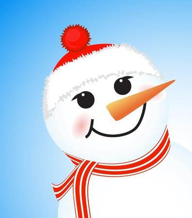 vector lindo muñeco de nieve del invierno sobre fondo azul