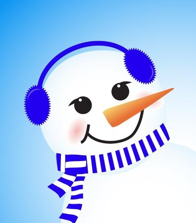 vector cute winter snowman on blue background Stock Vector - 15402312