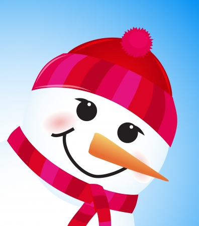 vector cute winter snowman on blue background Stock Vector - 15402320