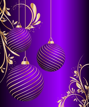stylized vector Christmas ball on decorative background Stock Vector - 15402278