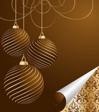 christmas ball: stylized vector Christmas ball on decorative background Illustration