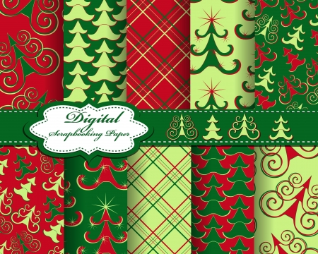 set of Christmas tree paper for scrapbook Vector