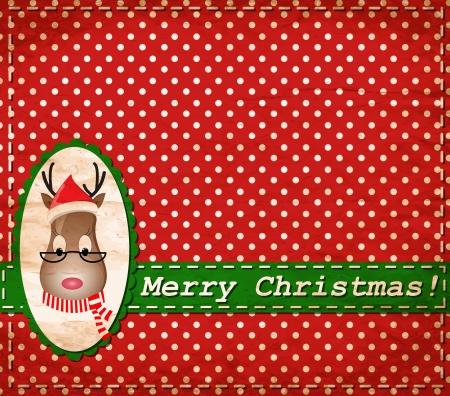 Santa Claus Deer vintage Christmas card Stock Vector - 15603573