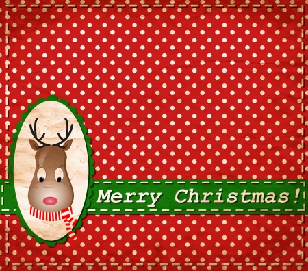 Santa Claus Deer vintage Christmas card
