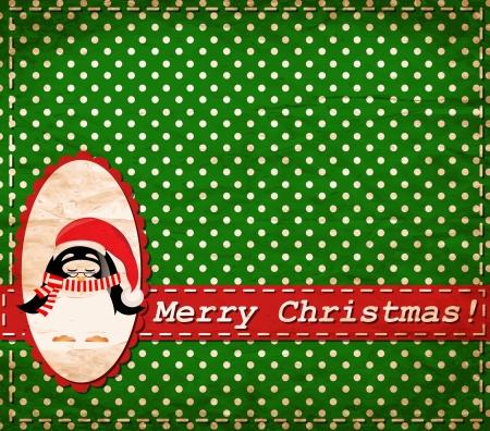 christmas eve: Santa Claus penguinr vintage Christmas card