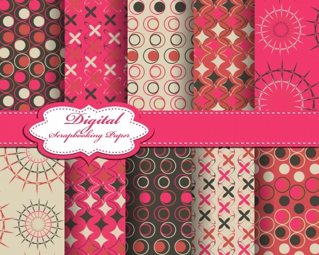 set of vector pattern paper for scrapbook Stock Vector - 15769258