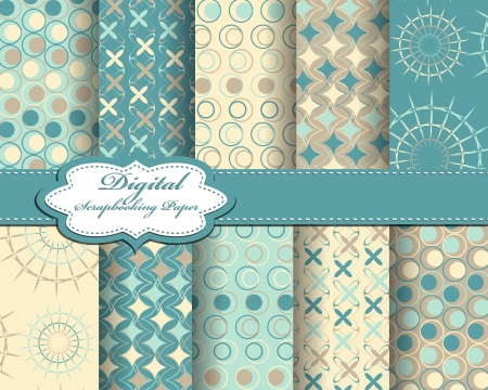 greeting card: set of vector pattern paper for scrapbook