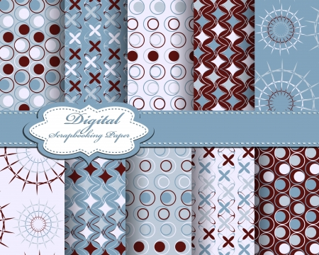 set of vector pattern paper for scrapbook Vector