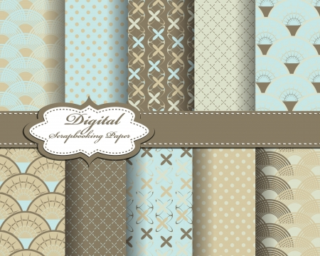 set of pattern paper for scrapbook Vector