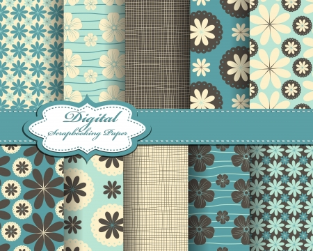 flower pattern paper for scrapbook Vector