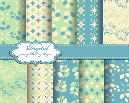 set of flower vector paper for scrapbook Ilustração Vetorial