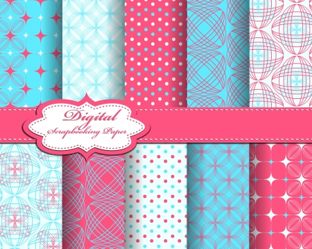 set of abstract flower vector paper for scrapbook Ilustrace