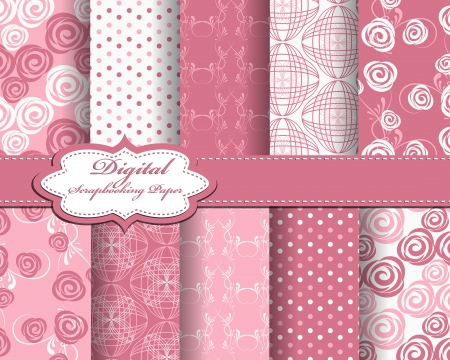 decoratively: set of abstract flower paper for scrapbook