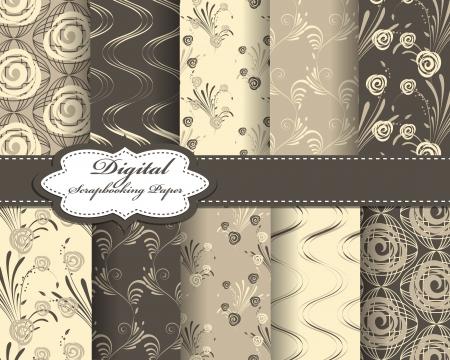 scrapbook paper: set of abstract flower paper for scrapbook