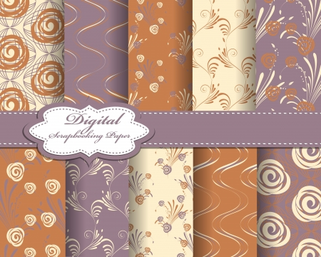 set of abstract flower paper for scrapbook