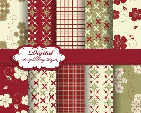 compendium: set of vector flower pattern paper for scrapbook