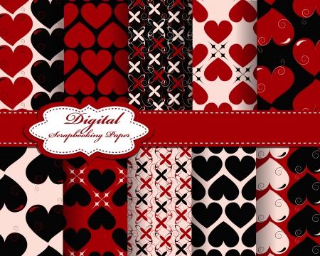 set of vector heart Valentines day pattern paper for scrapbook Vector