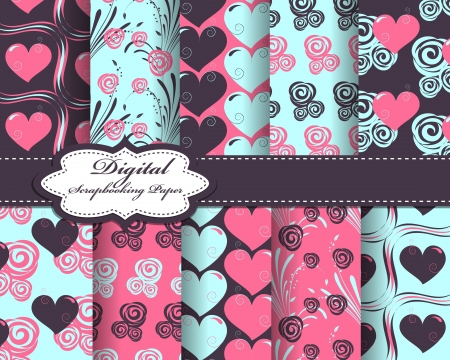 scrapbook paper: set of vector heart Valentines day pattern paper for scrapbook