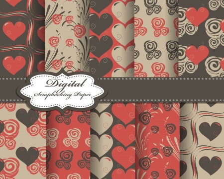 compendium: set of vector heart Valentines day pattern paper for scrapbook