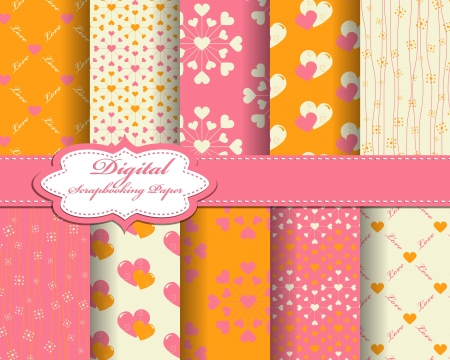 valentine's: set of vector heart Valentines day pattern paper for scrapbook