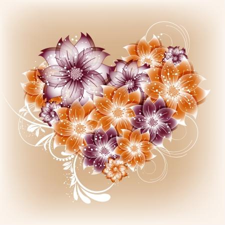 hart bloem: vector hart bloem achtergrond Stock Illustratie