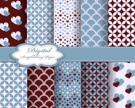 set of  heart Valentines day pattern paper for scrapbook Vector